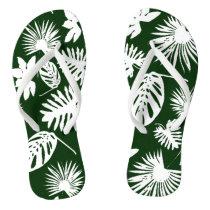 Tropical Leaves - White on Green - Flip Flops