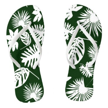 Beach Themed Tropical Leaves - White on Green - Flip Flops
