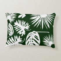 Tropical Leaves - White on Green - Pillow #1