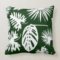 Tropical Leaves - White on Green - Pillow #2