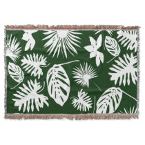 Tropical Leaves - White on Green Throw Blanket