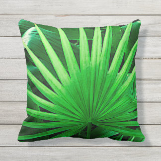Tropical Leaves, Windmill Palm, Dark Green Outdoor Pillow