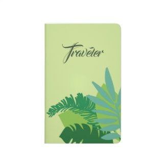 Tropical leaves with green background Traveler