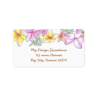 Tropical Lei address label, Plumeria flowers Label