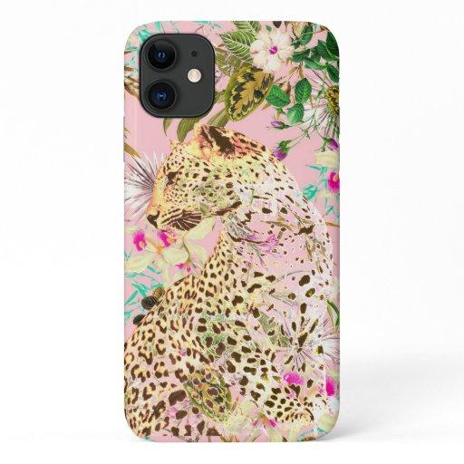 Tropical leopard print floral Hawaiian iPhone 11 Case