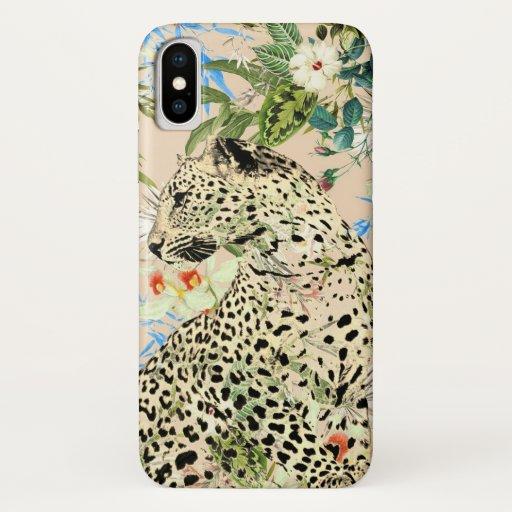 Tropical leopard print floral Hawaiian iPhone X Case
