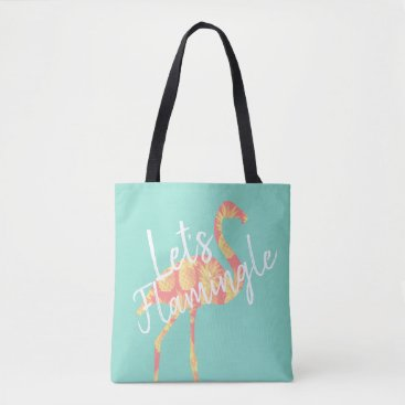 Tropical Let's Flamingle Flamingo & Pineapples Tote Bag