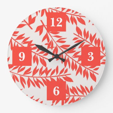 Beach Themed Tropical Letters on Coral with Palm Fronds Large Clock