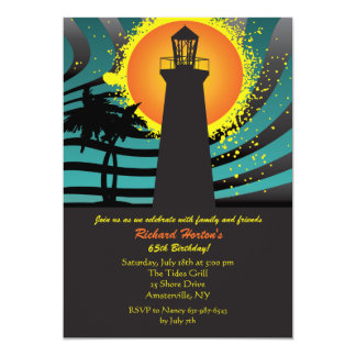 Tropical Lighthouse Invitation