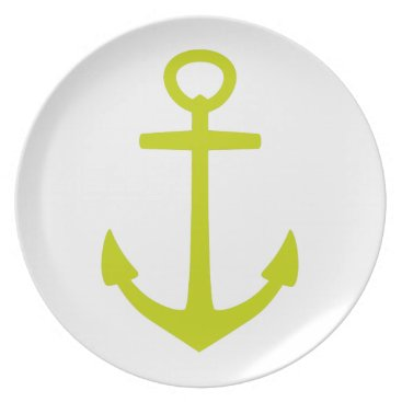 Beach Themed Tropical Lime Green Anchor on White Plate
