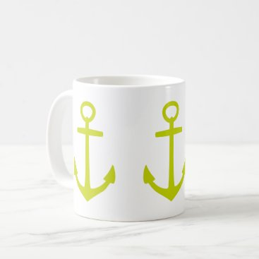 Beach Themed Tropical Lime Green Anchors on White Coffee Mug