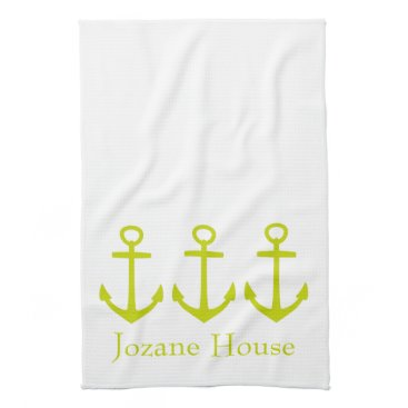 Beach Themed Tropical Lime Green Anchors on White Personalized Towel