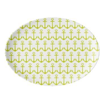 Beach Themed Tropical Lime Green Anchors on White Porcelain Serving Platter