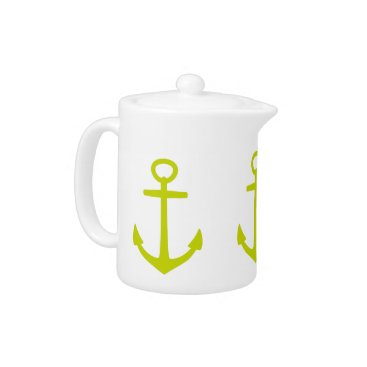 Beach Themed Tropical Lime Green Anchors on White Teapot