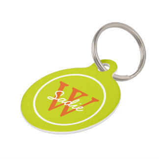 Tropical Lime Green and Wild Tangerine Monogram Pet ID Tag
