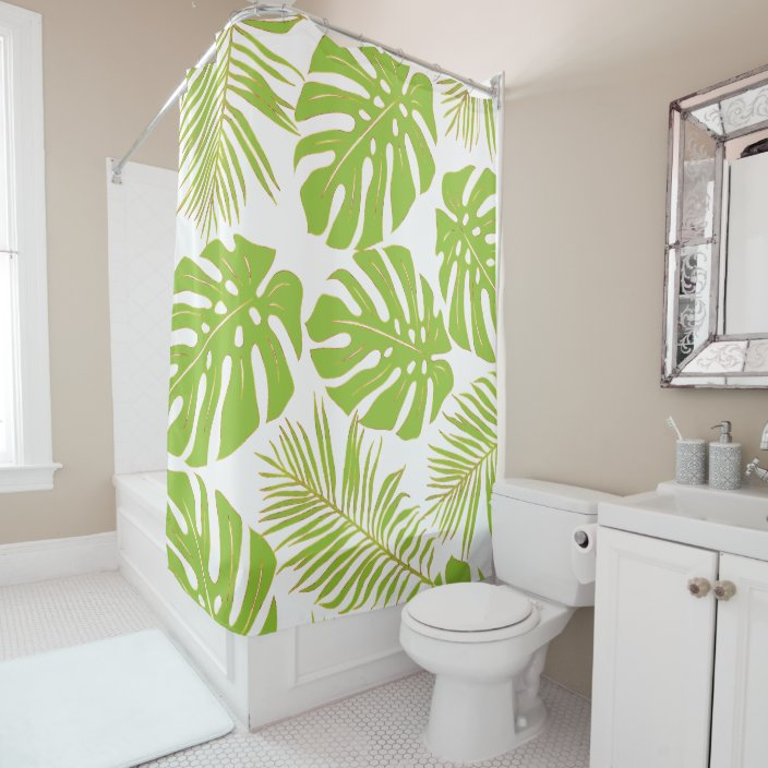 Tropical Lime Green Gold Monstera And Palm Leaves Shower Curtain Zazzle Com Shower curtains help you design your bathroom with a personal style, enhance its personality look. tropical lime green gold monstera and palm leaves shower curtain zazzle com