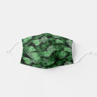 Tropical Lime Green Summer Palmtree Leafs Pattern Cloth Face Mask