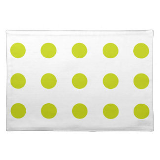 Tropical Lime Polka Dots on White Cloth Placemat