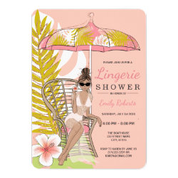 Tropical Lingerie Shower Brunette Bride Invitation