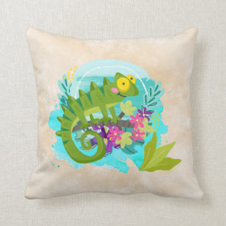 Tropical Lizard with Flowers Throw Pillow