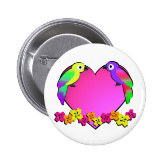 Tropical Love Birds Pinback Buttons