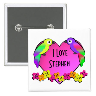 Tropical Love Birds Button