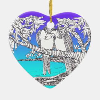 Tropical Love Birds in Paradise Blues Ceramic Ornament