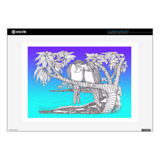 Tropical Love Birds in Paradise Blues Laptop Decals