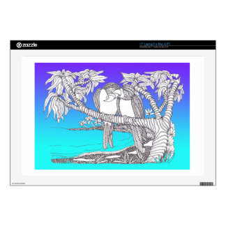 Tropical Love Birds in Paradise Blues Laptop Skins