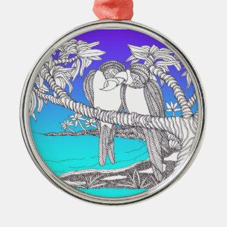 Tropical Love Birds in Paradise Blues Metal Ornament