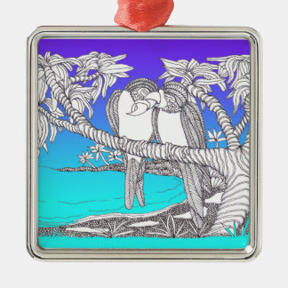 Tropical Love Birds in Paradise Blues Christmas Ornaments