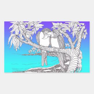 Tropical Love Birds in Paradise Blues Rectangular Sticker