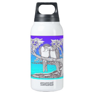 Tropical Love Birds in Paradise Blues 10 Oz Insulated SIGG Thermos Water Bottle