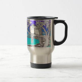 Tropical Love Birds in Paradise Blues Travel Mug