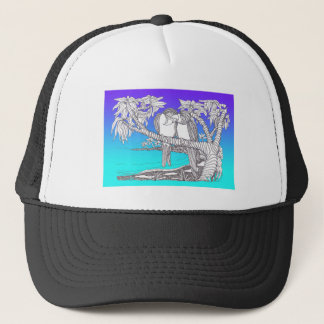 Tropical Love Birds in Paradise Blues Trucker Hat