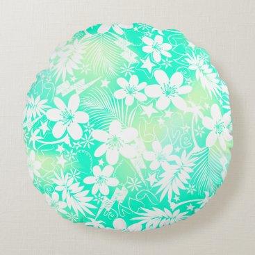 Beach Themed Tropical love round pillow
