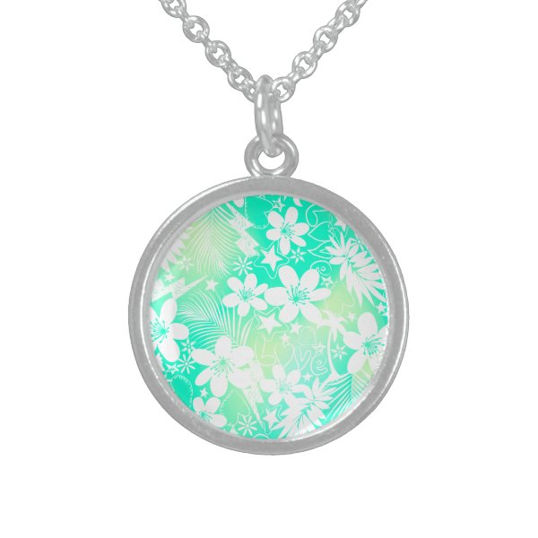 Tropical love sterling silver necklace