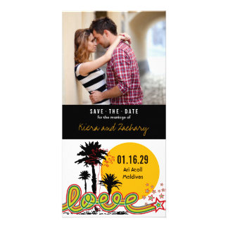 Tropical Love Summer Palm Trees Save The Date Customized Photo Card