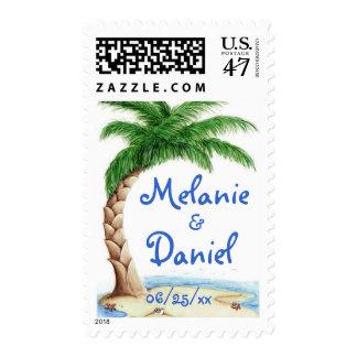 Tropical Love Wedding Postage Stamp