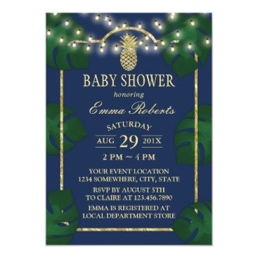 Beach Themed Tropical Luau Baby Shower Pineapple Navy & Gold Card