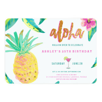 tropical luau birthday invitation