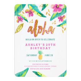 tropical luau birthday invitation