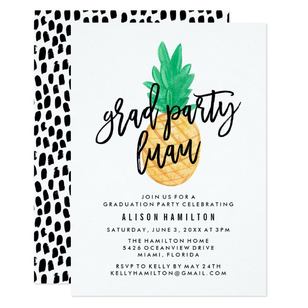 Tropical Luau | Graduation Party Invitation (front side)