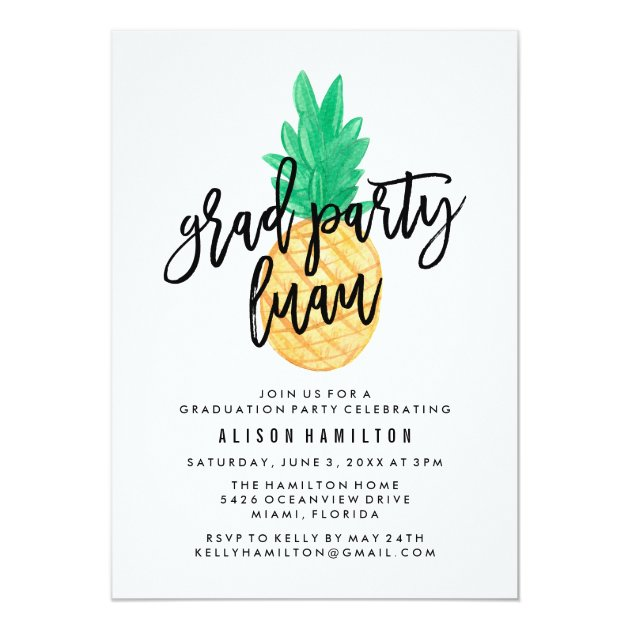 Tropical Luau | Graduation Party Invitation (back side)