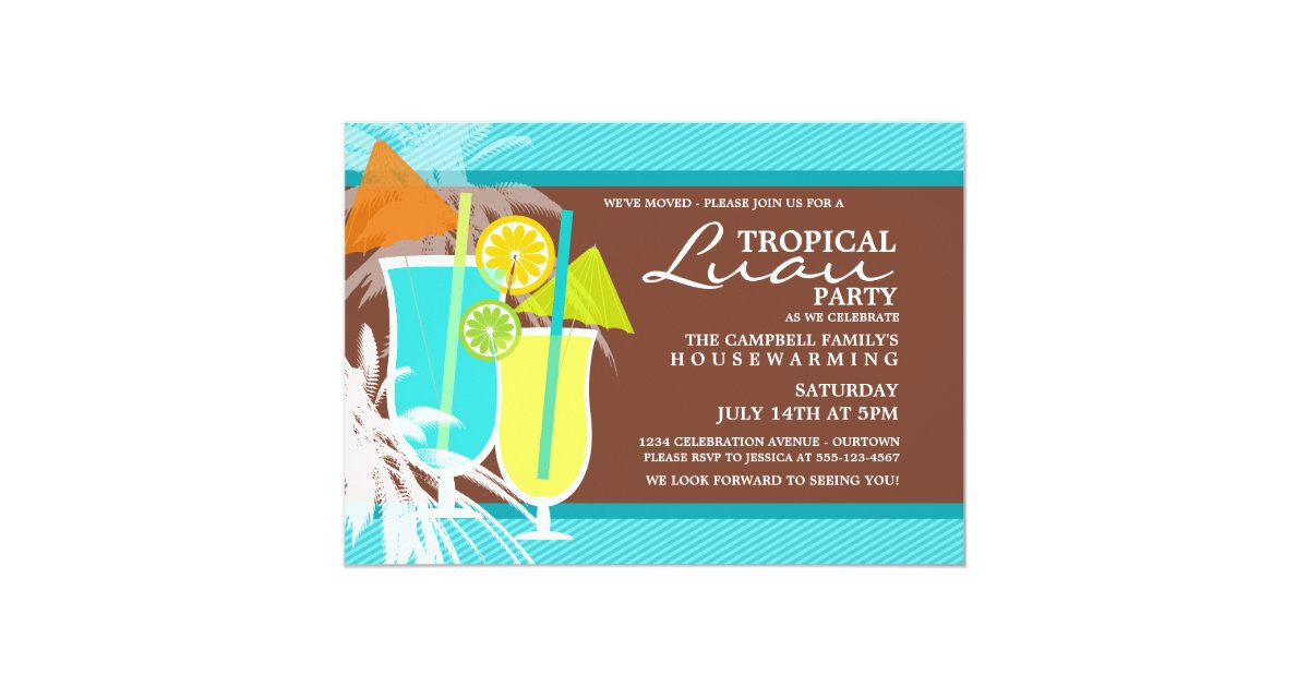 Tropical Luau Housewarming Party Invitations | Zazzle.com