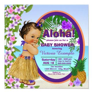 Tropical Luau Hwaiian Hula Girl Baby Shower Card