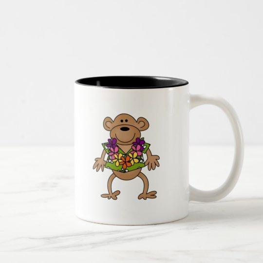 Tropical Luau Monkey Two-Tone Coffee Mug