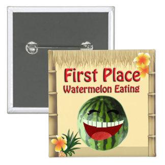 Tropical Luau Party Tiki Hut 1 Place Watermelon 2 Inch Square Button
