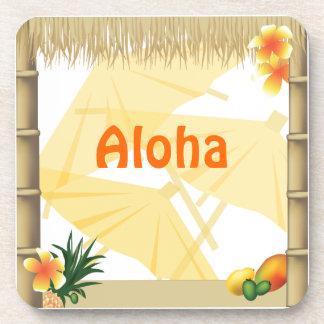 Tropical Luau Party Tiki Hut Cork Coaster