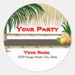 Tropical Luau Party Tiki Hut Sticker